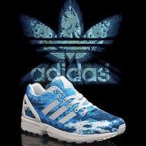 pas mal 3c43f 7a8ba Chaussures Adidas ZX Flux femme Bleu Blanc Pas Cher 70,66 ...