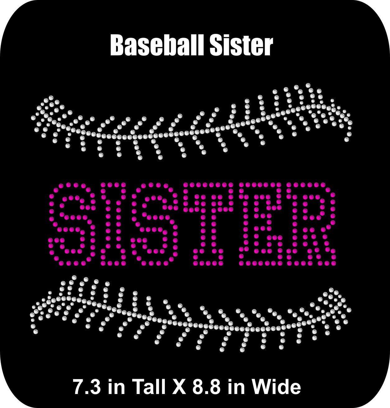 Rhinestone Bling Iron-on T-shirt Transfer Baseball Sister