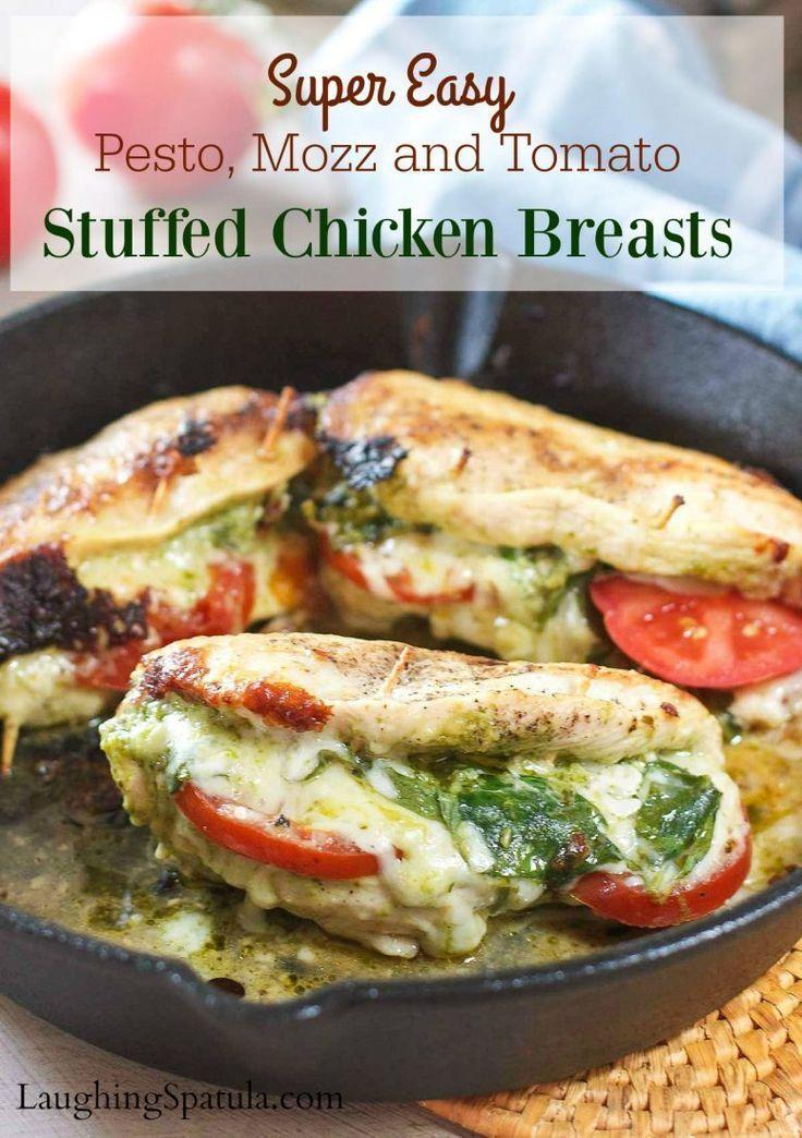 Pesto Tomato and Mozzarella Stuffed Chicken Breasts -