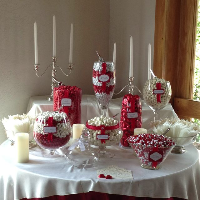 Red Wedding Ideas On A Budget: Elegant Red And White Candy Bar. I'm So Proud Of It! In