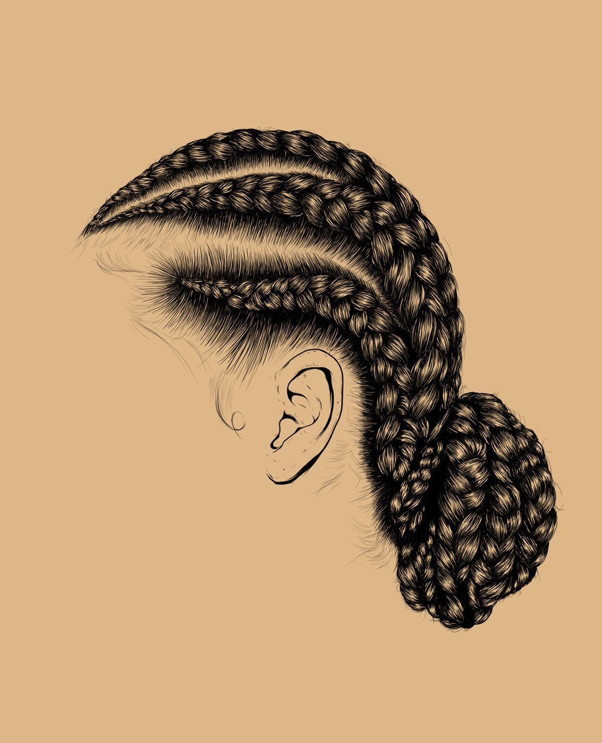 How To Draw Cornrows : cornrows, Braids,, Hair,, Illustration,, Digital, Illustrator, Illustration