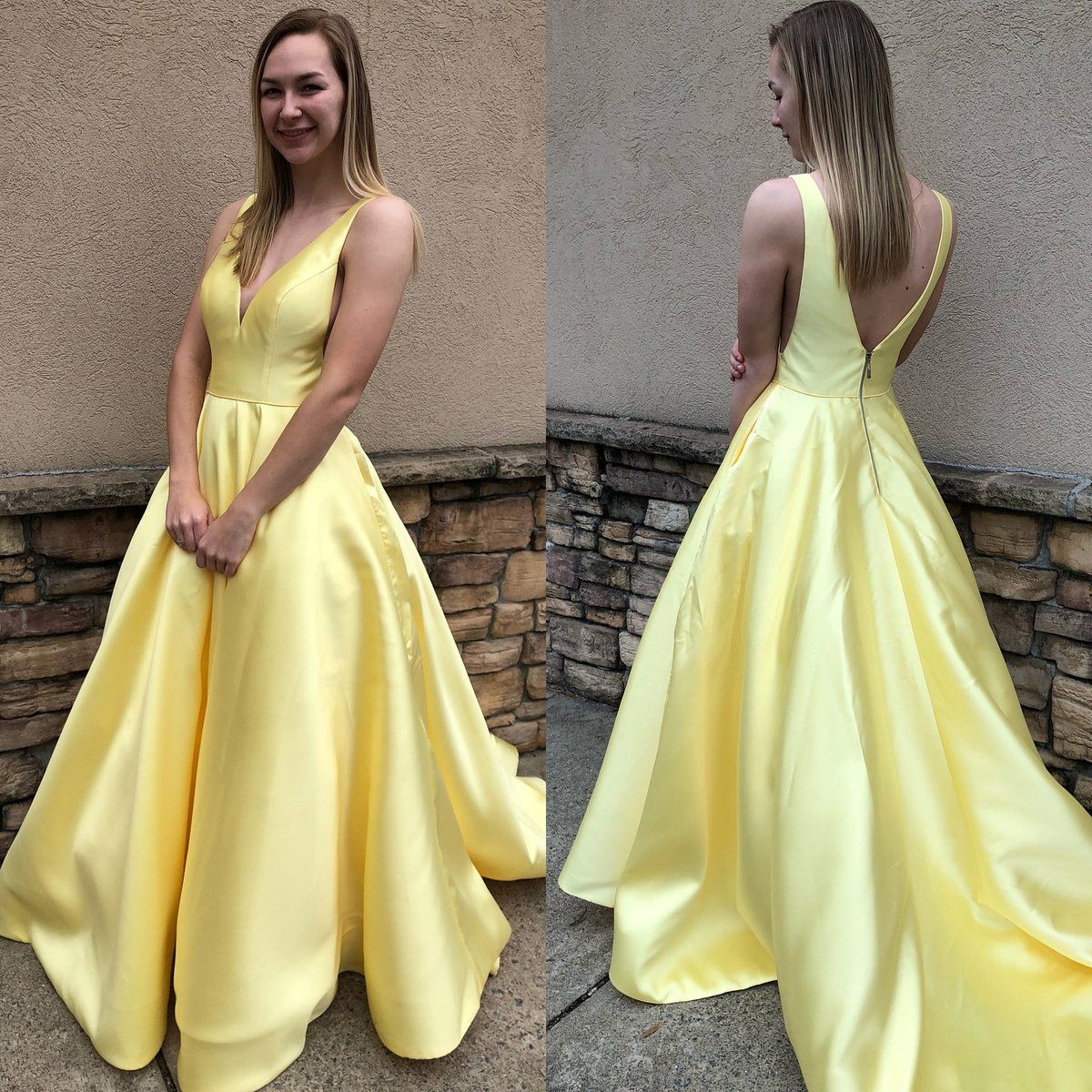 Simple princess vneck yellow long prom dress evening gowns