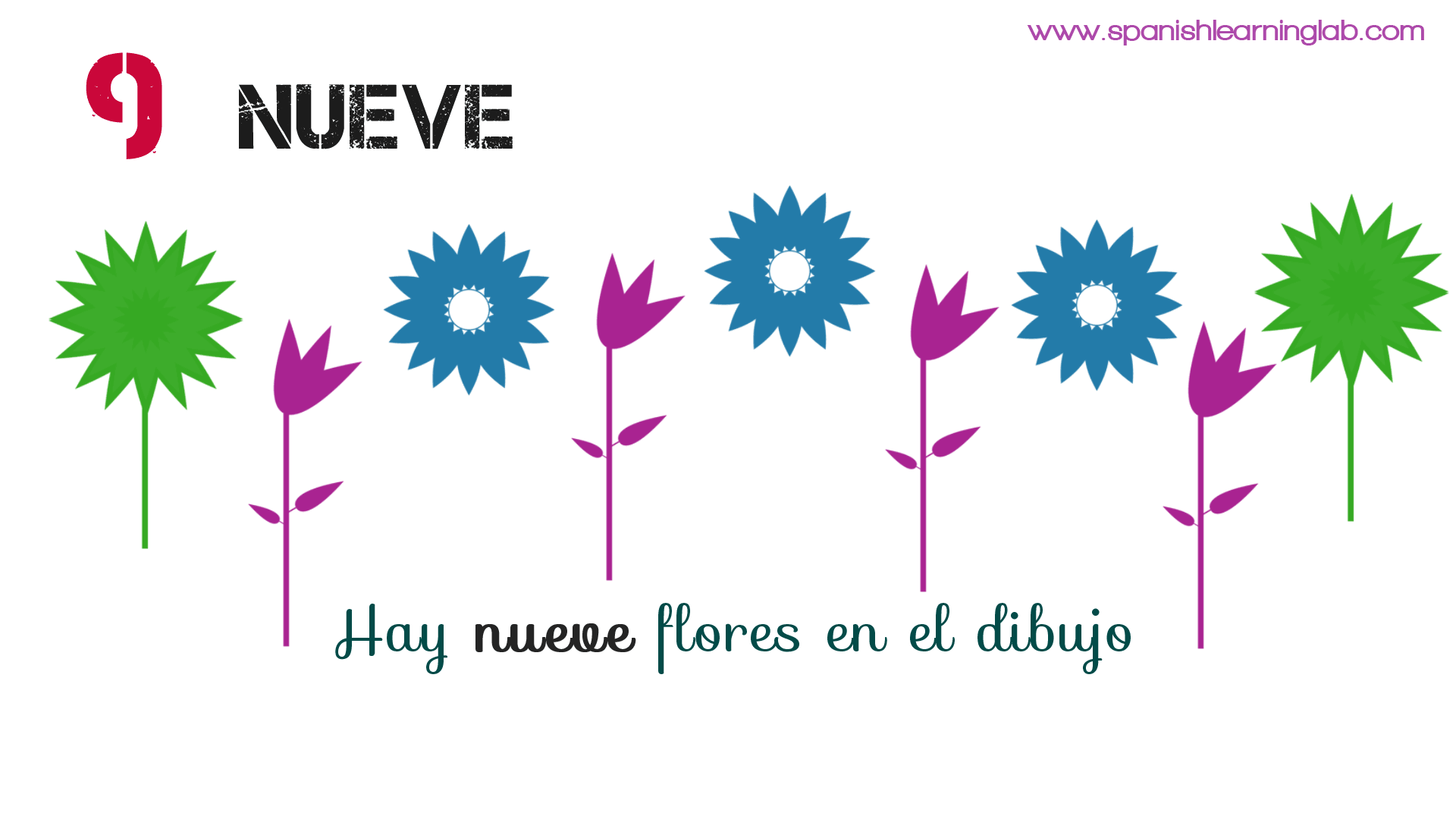 Spanish numbers NUEVE (nine) -> There are nine flowers in the drawing