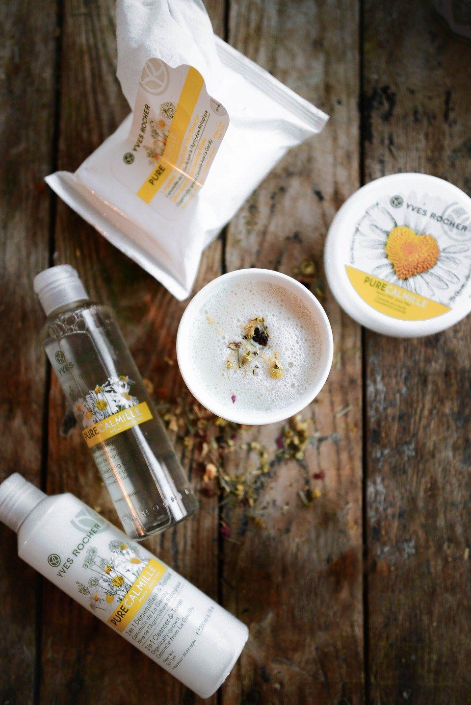 Yves Rocher Pure Calmille Product Line Camomile Tea Latte Recipe