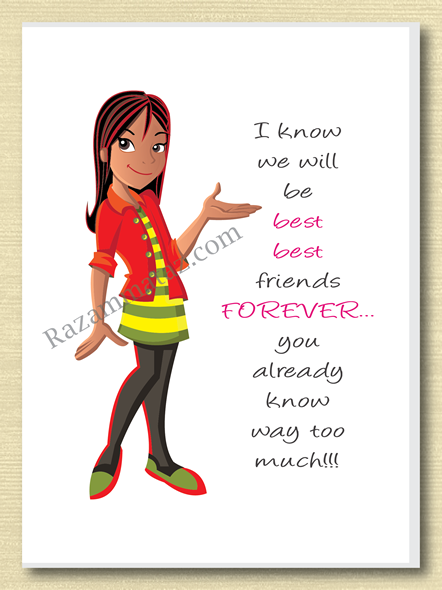 African American Girl 'Friends Forever' Greeting Card
