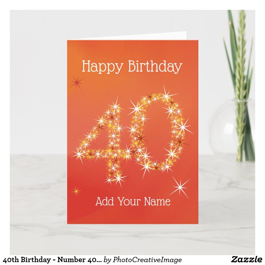 40th Birthday Number 40 In Stars Red Age Card Zazzle Co Uk Birthday Numbers 40th Birthday Cards Custom Greeting Cards