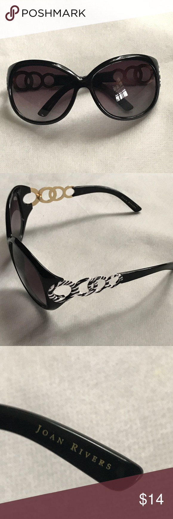 9d0f90449654e Joan River s Sunglasses Black with striped link circles on the side.  Excellent Condition Joan Rivers Accessories Sunglasses