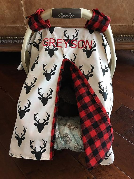 Mod Baby Car seat Covers - Cotton - Deer Buck in Black - Cream with Red Buffalo Plaid Flannel - shower gift - antler - hunting #babyboyblankets