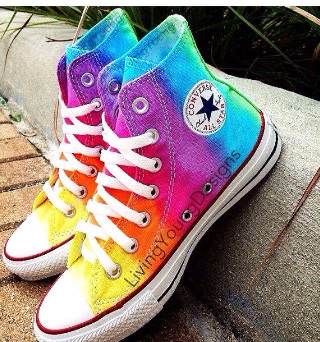 68a62be336a9 Rainbow tie dye converse