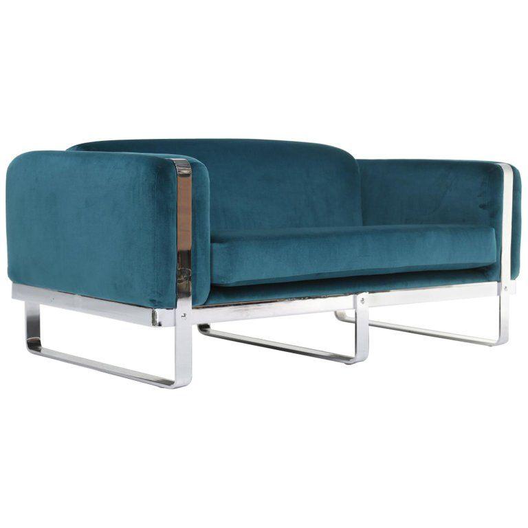 Mid Century Chrome Loveseat Sofa