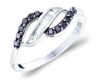 Black Diamond Baguette Ring Wave Fashion Band 10k White Gold (0.33 ct.tw) #Diamond #wedding #Engagement #Band #fashion #Jewelry jeweltie.com