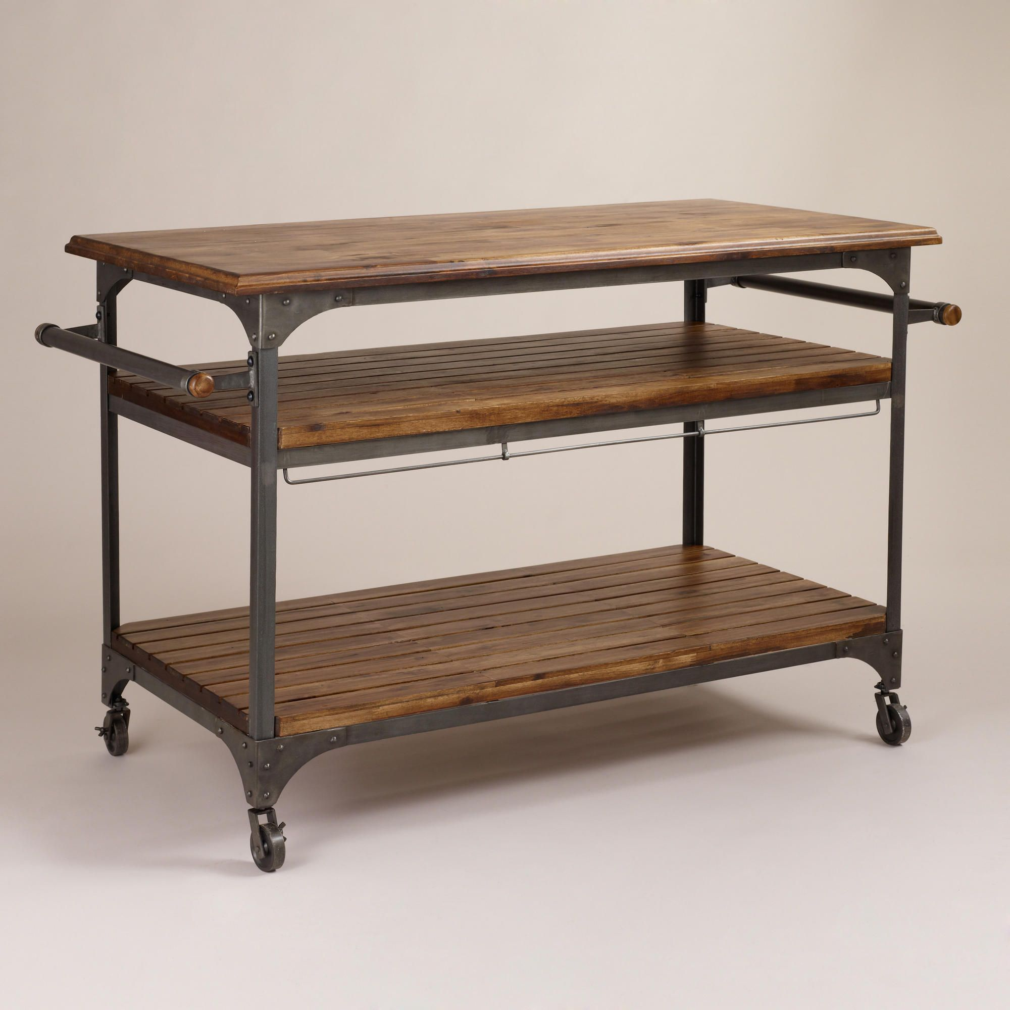 Wood And Metal Jackson Kitchen Cart (World Market); Swap Top For Larger One  To Create Breakfast Counter.