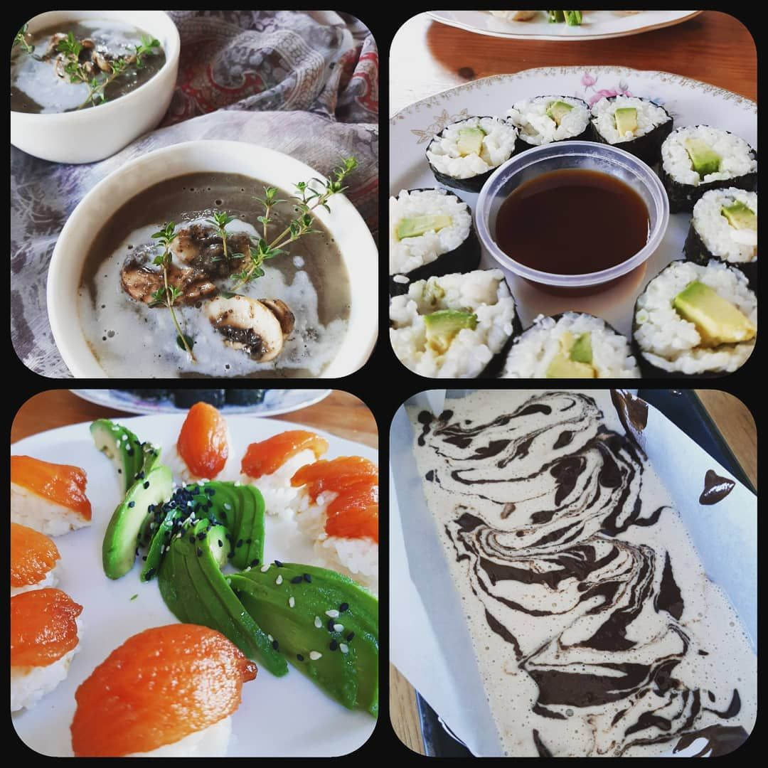 Having A Very Creative Day In The Kitchen Made Vegan Sushi Creamy Mushroom Soup And N Ice Cream To End I Vegan Sushi Creamy Mushroom Soup Whole Food Recipes