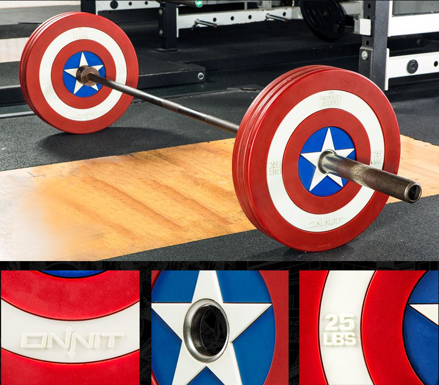 02965da62 Onnit Labs LLC  Marvel Hero Elite Captain America Shield Urethane Barbell  Plates - Functional barbell bumper plates modeled after Captain America s  iconic ...