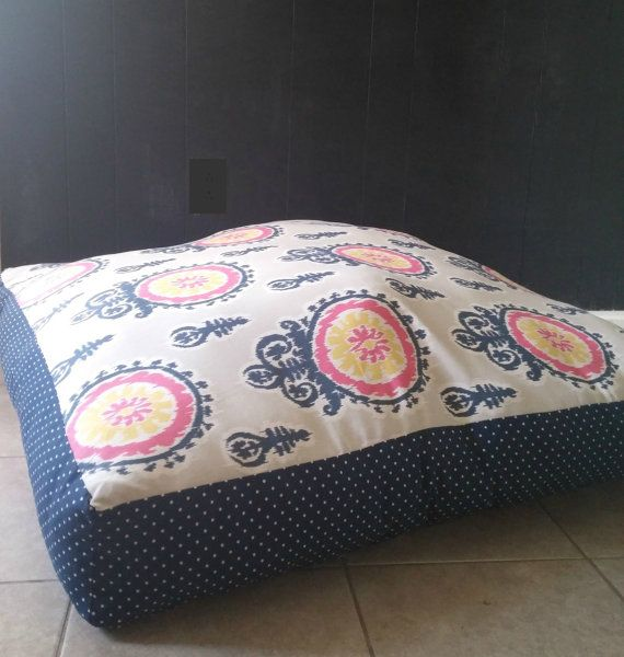 Custom Large Floor Pillow 35x35 Dog Bed Cover by MrsDahlface 3000
