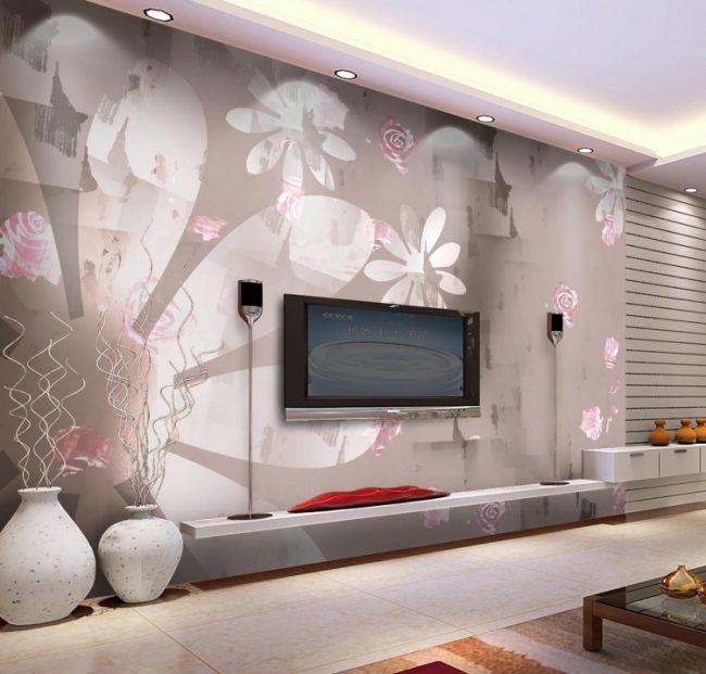 Wohnzimmer Wande Tapezieren Ideen Pastellfarben Taupe Rosa Blumenmotive