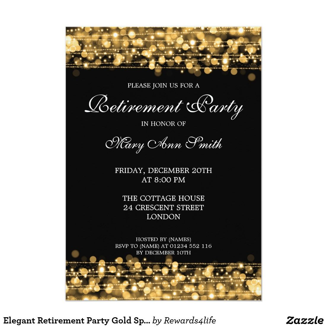 Elegant Retirement Party Gold Sparkles Invitation ...