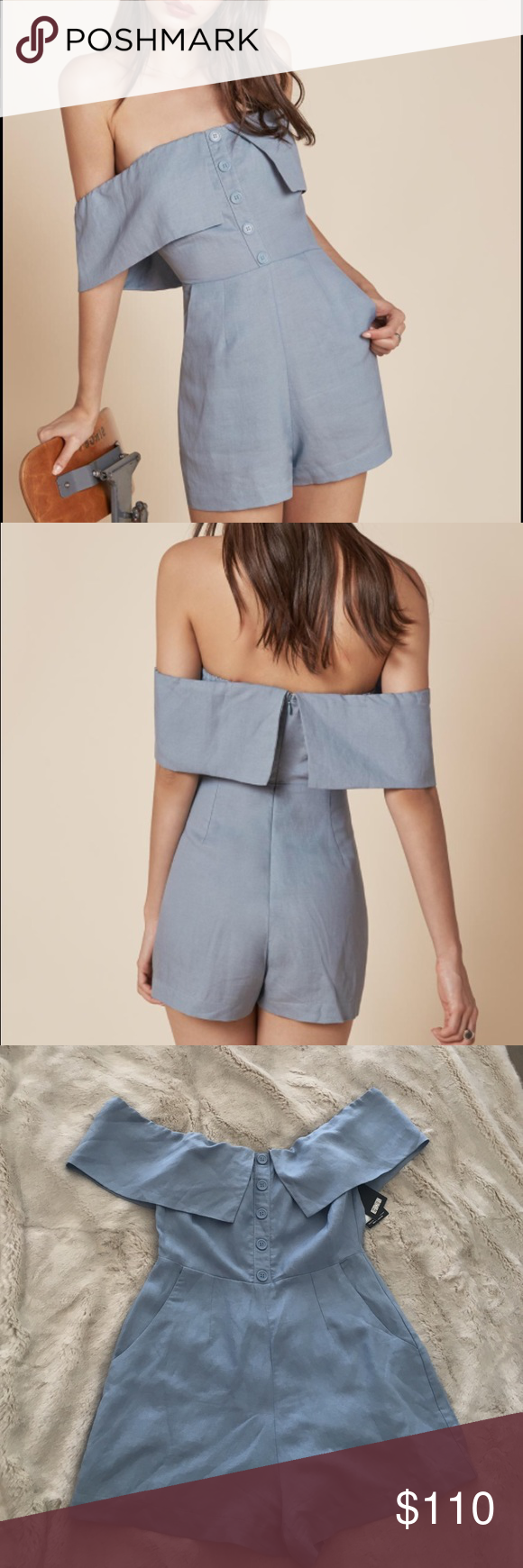 FRANKIE JUMPSUIT - MINERAL It's summer - get half dressed. This is an off-the-shoulder romper with a center back zipper, pockets and buttons down the front. - Elastic neckline Show Me Your MuMu Pants Jumpsuits & Rompers