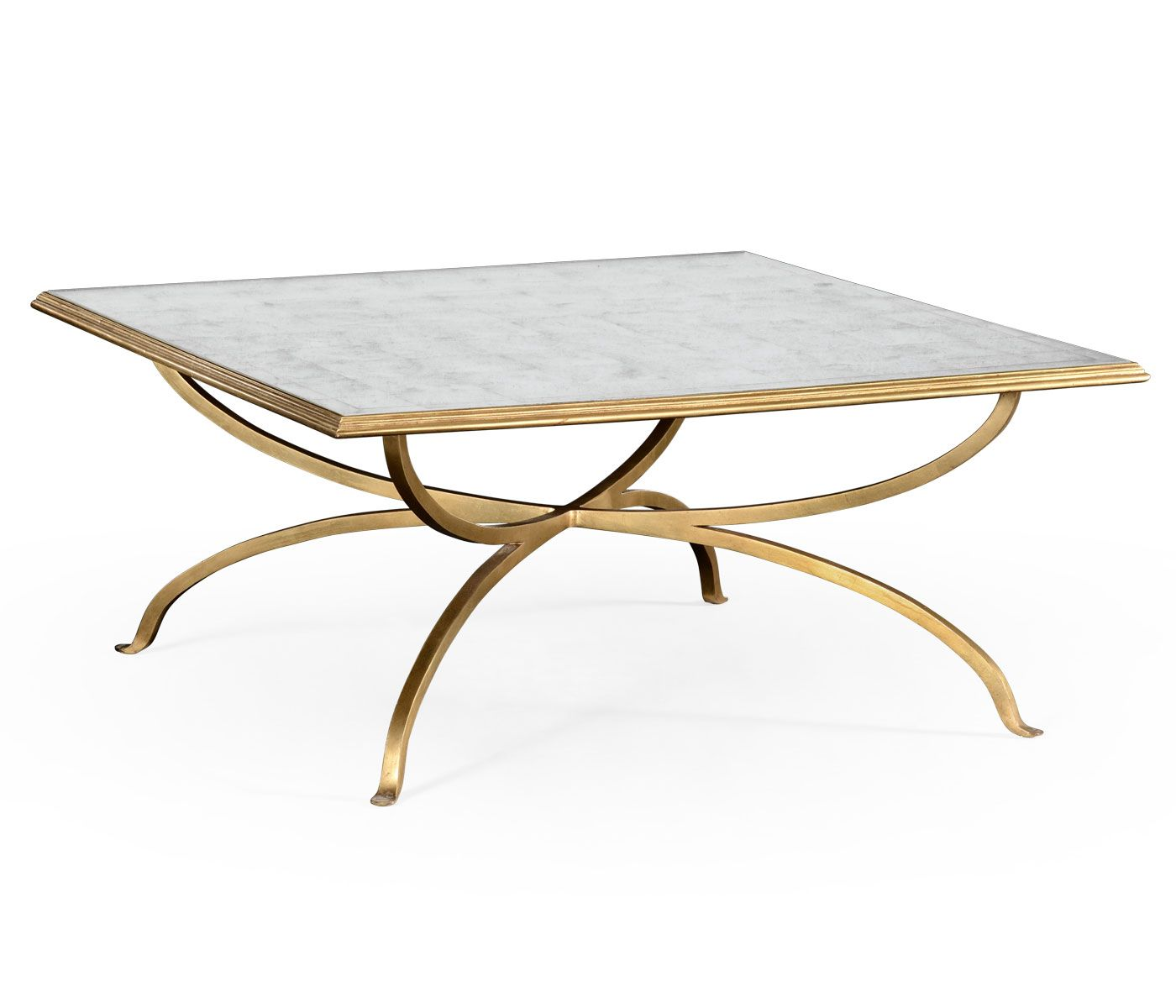 Églomisé And Gilded Iron Square Coffee Table Gold