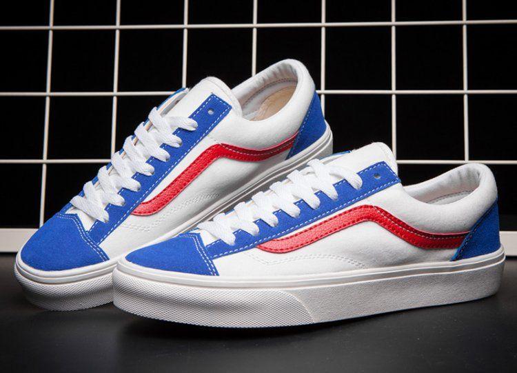 72bf804b92 Vintage Classic Vans Old Skool Skateboard Shoes Blue White Red  Vans ...