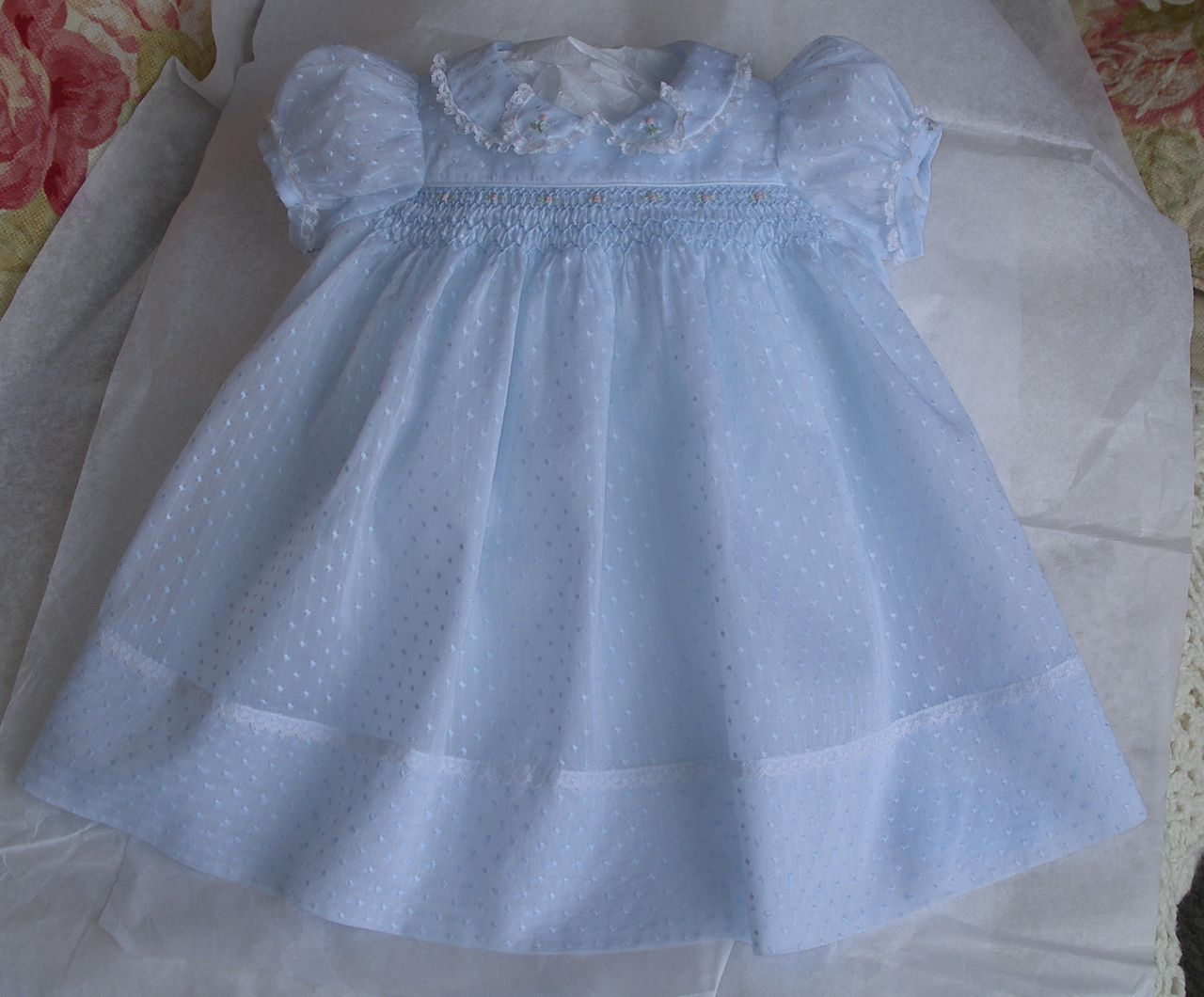 9361af88fc773 The Old Fashioned Baby Sewing Room: Emma's Smocked Baby Dress in Blue  Dotted Swiss