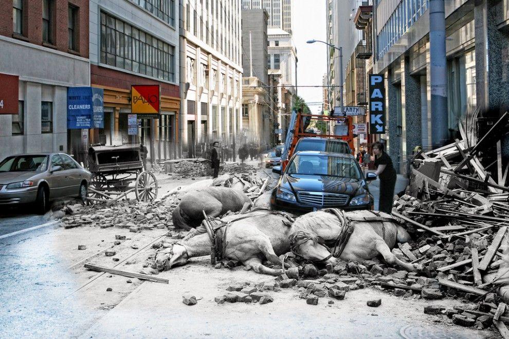 composite then now photos of the 1906 san francisco earthquake