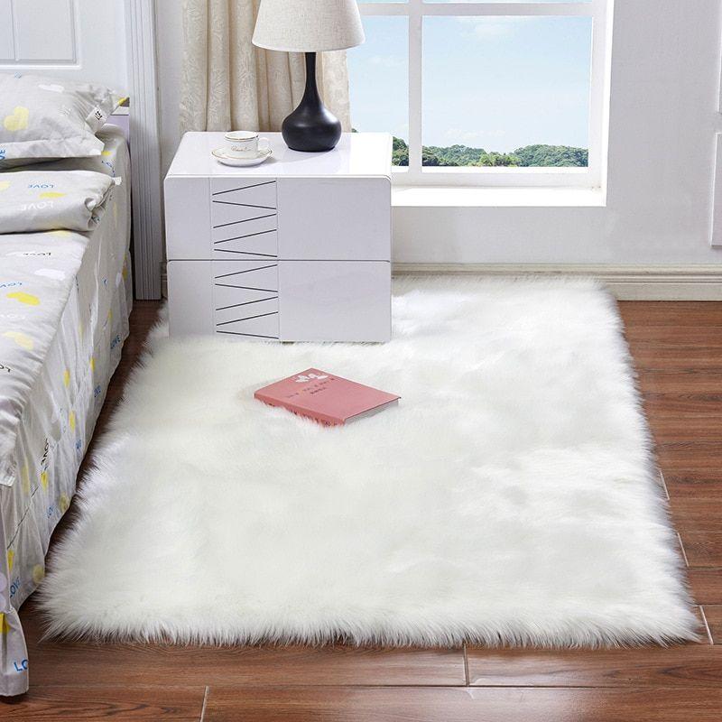 Luxury Rectangle Square Soft Artificial Wool Sheepskin Fluffy Area Rug White Fur Carpet Shaggy Long Hair Solid Mat Home Decor Fur Carpet Carpet White Area Rug