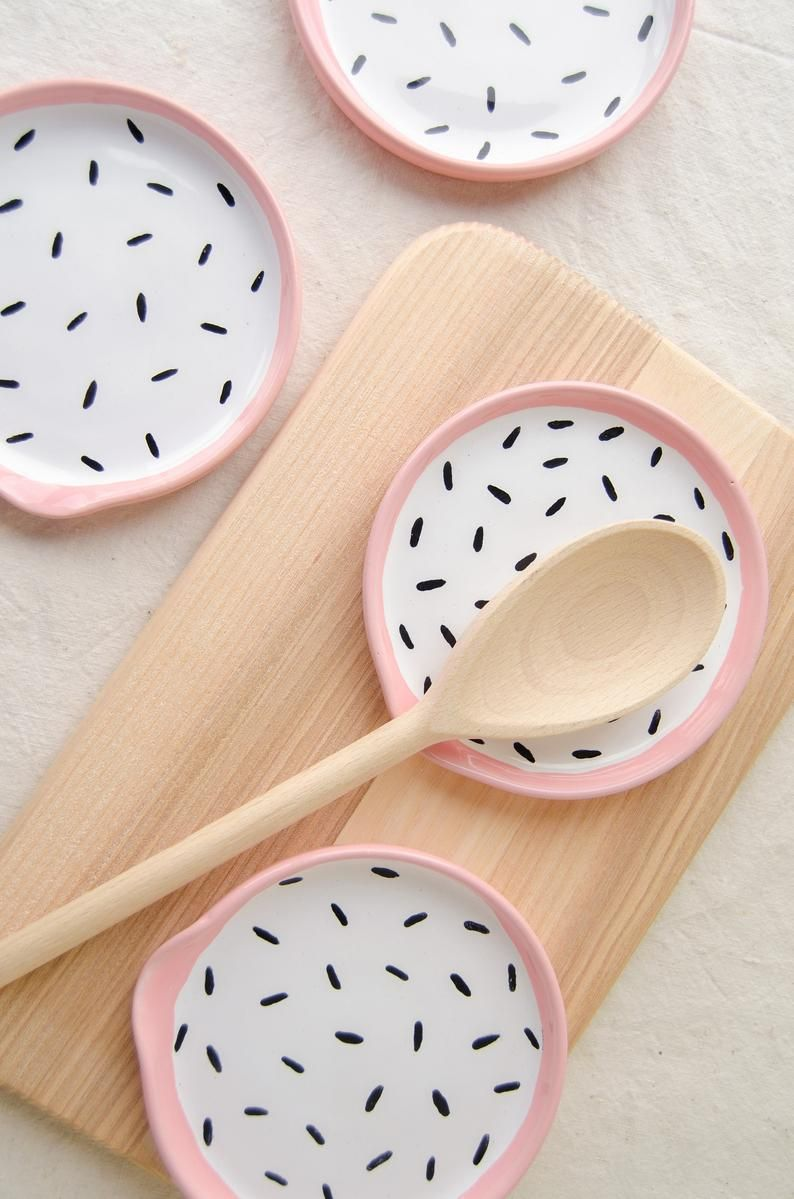 for the stove use for utensils Handmade Pottery Spoon Rest tea bags