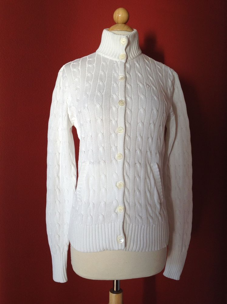 RALPH LAUREN Golf Women's White Cotton Cable Knit Cardigan Sweater ...