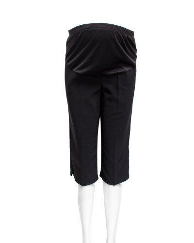 d648bf9658a39 Black Plus Size Maternity Side Slit Capri Pants Elastic Waist Fabric  FineBrandShop. $16.50