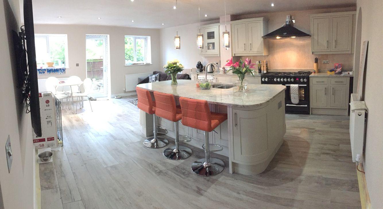 Somerton sage kitchen with Ivory fantasy granite