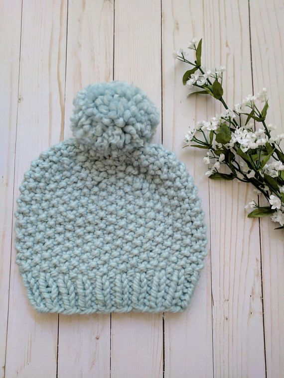Knitting Pattern Seed Stitch Beanie Pattern Hat Knitting Pattern