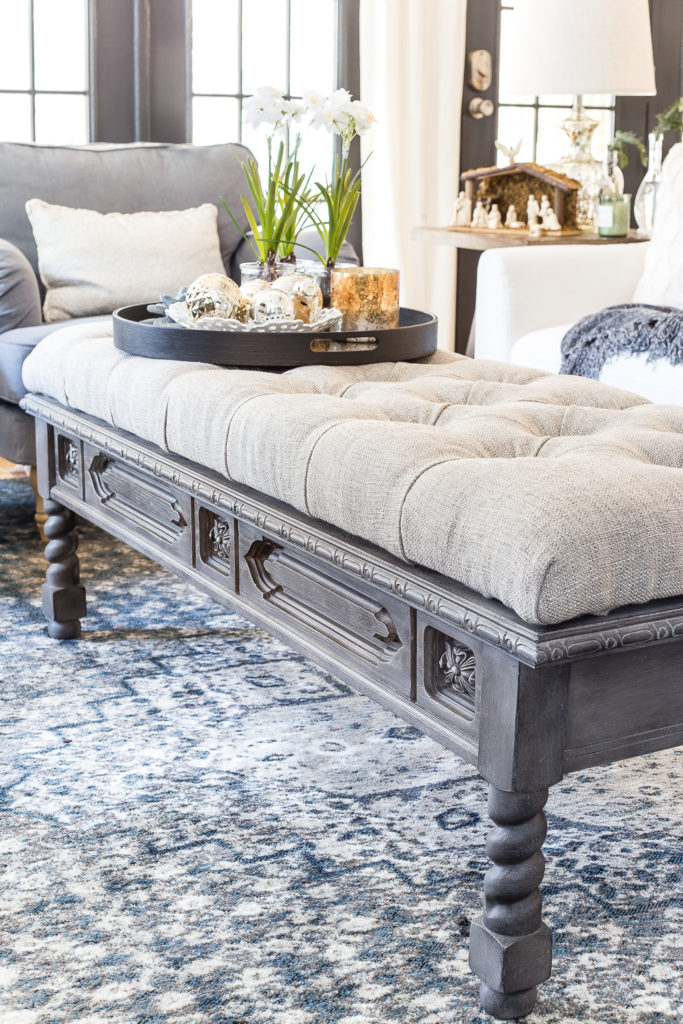 DIY Ottoman Bench from a Repurposed Coffee Table ...
