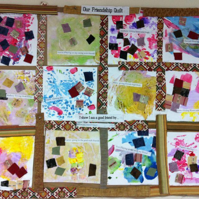 Classroom Quilt Themes : Mixed medium friendship quilt preschool pinterest