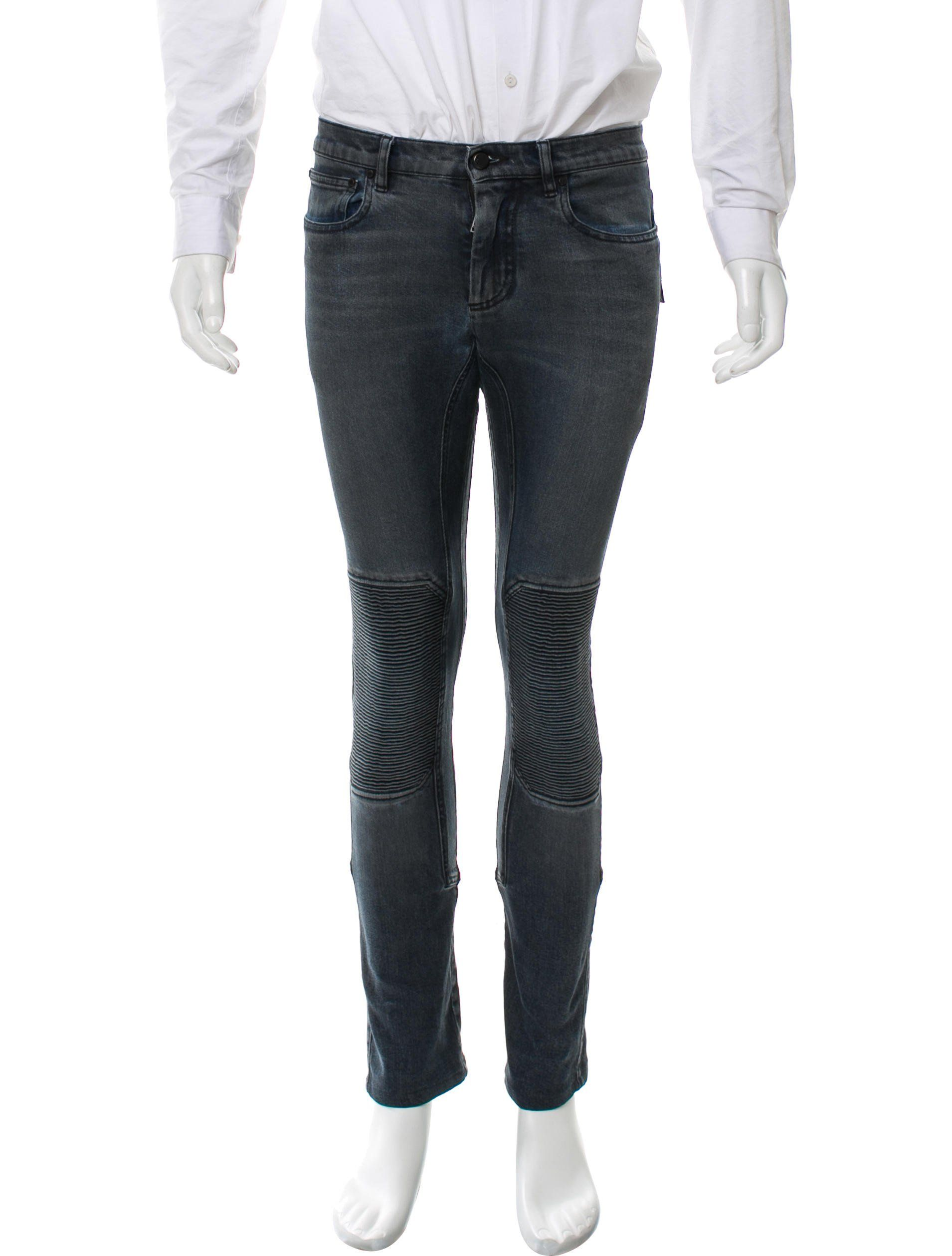 f97754bd Men's dark wash Belstaff skinny biker jeans with six pockets and zip  closure at front.