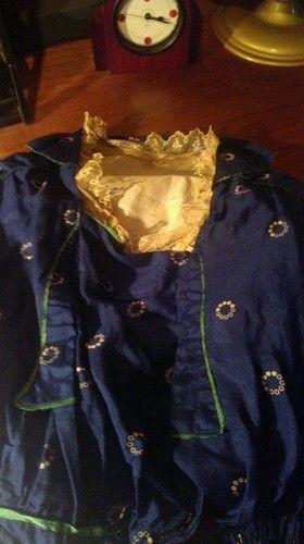 ANTIQUE1912 Edwardian Indigo Blue Silk Titanic Dress Halloween Downton Abby S   eBay