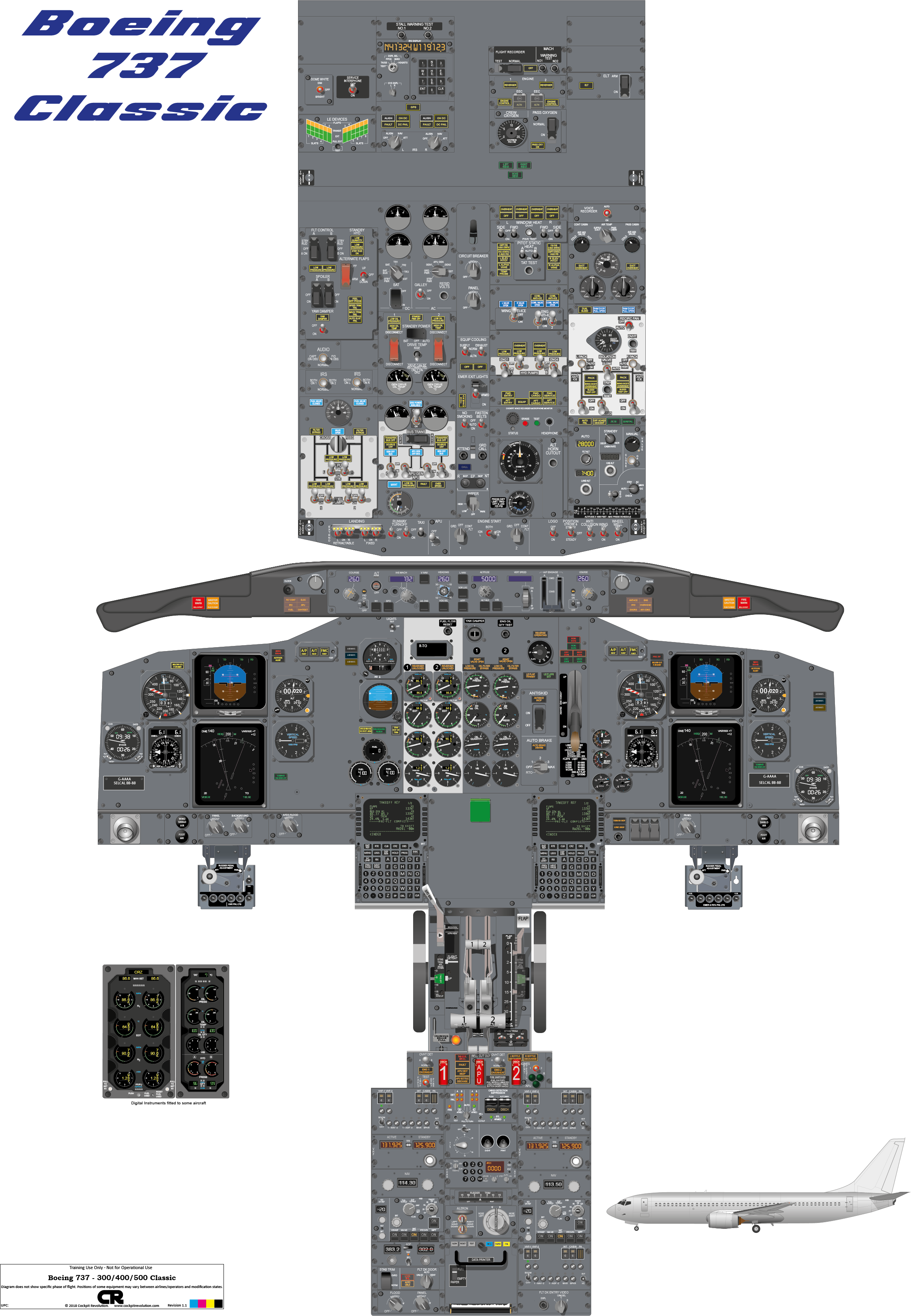 Cockpit Poster Of The Boeing 737 400  500 Drawn From