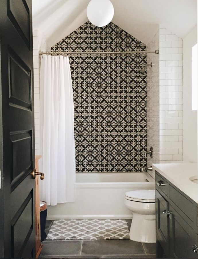 Bathroom design ideas tile, cement tile, subway tile, black and ...