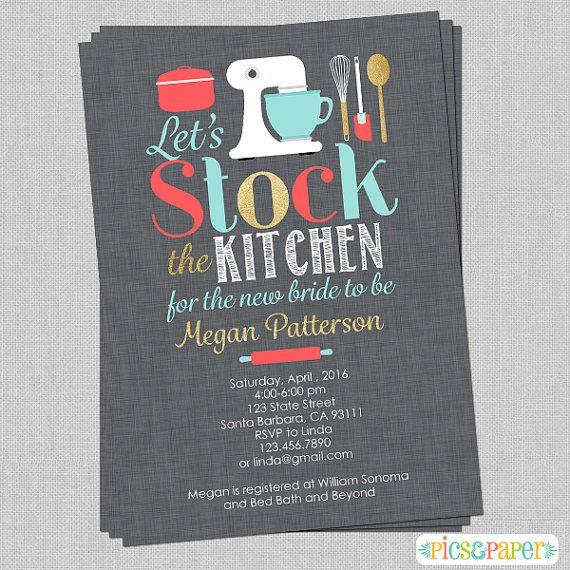stock the kitchen bridal shower invitation coral aqua grey