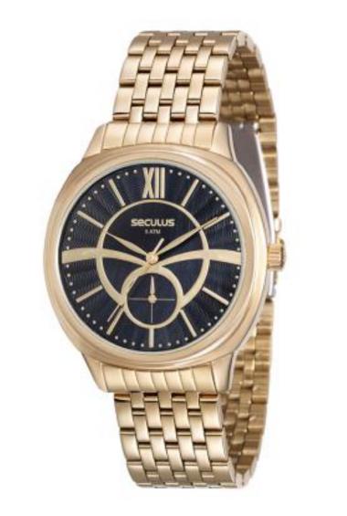 20417LPSVDS2 Relógio Feminino Dourado Seculus Analógico   Guest Club
