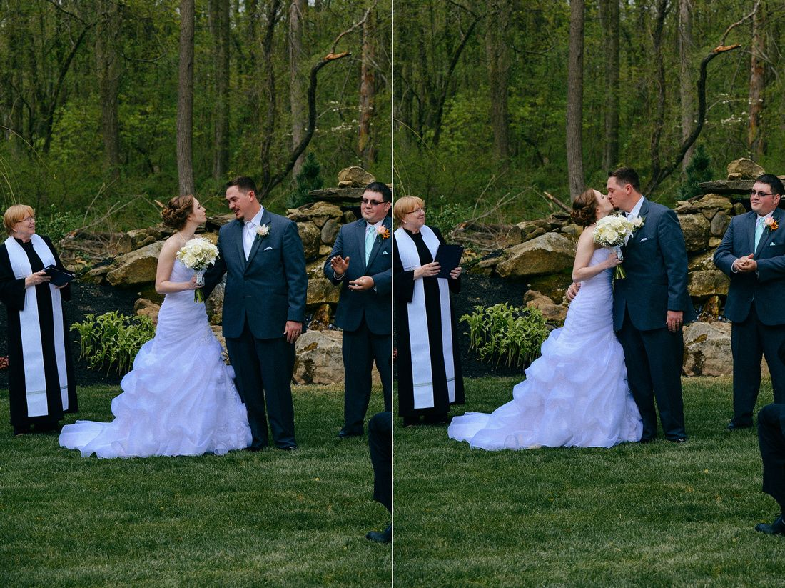 The kiss in front of the waterfall. :) Photo Credit: Kate Hennessey Photography #brandywinemanorhouse