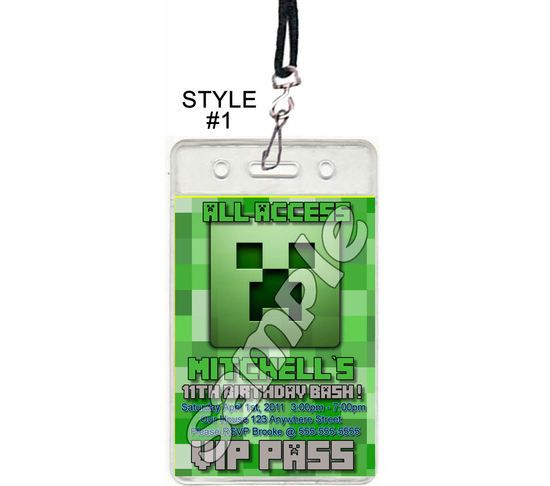 Minecraft Inspired Set of 12 VIP Party Invitation Passes or Party - mine craft invitation template