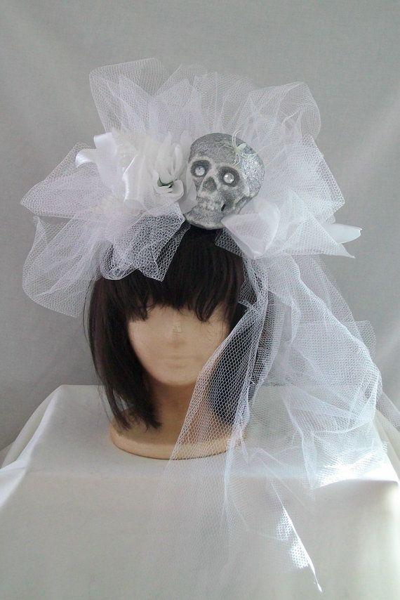 Halloween Dead Bride Skull White Veil netting by AmericanGirl51