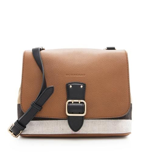 a02292413c0a Burberry Leather Canvas Shellwood Small Shoulder Bag