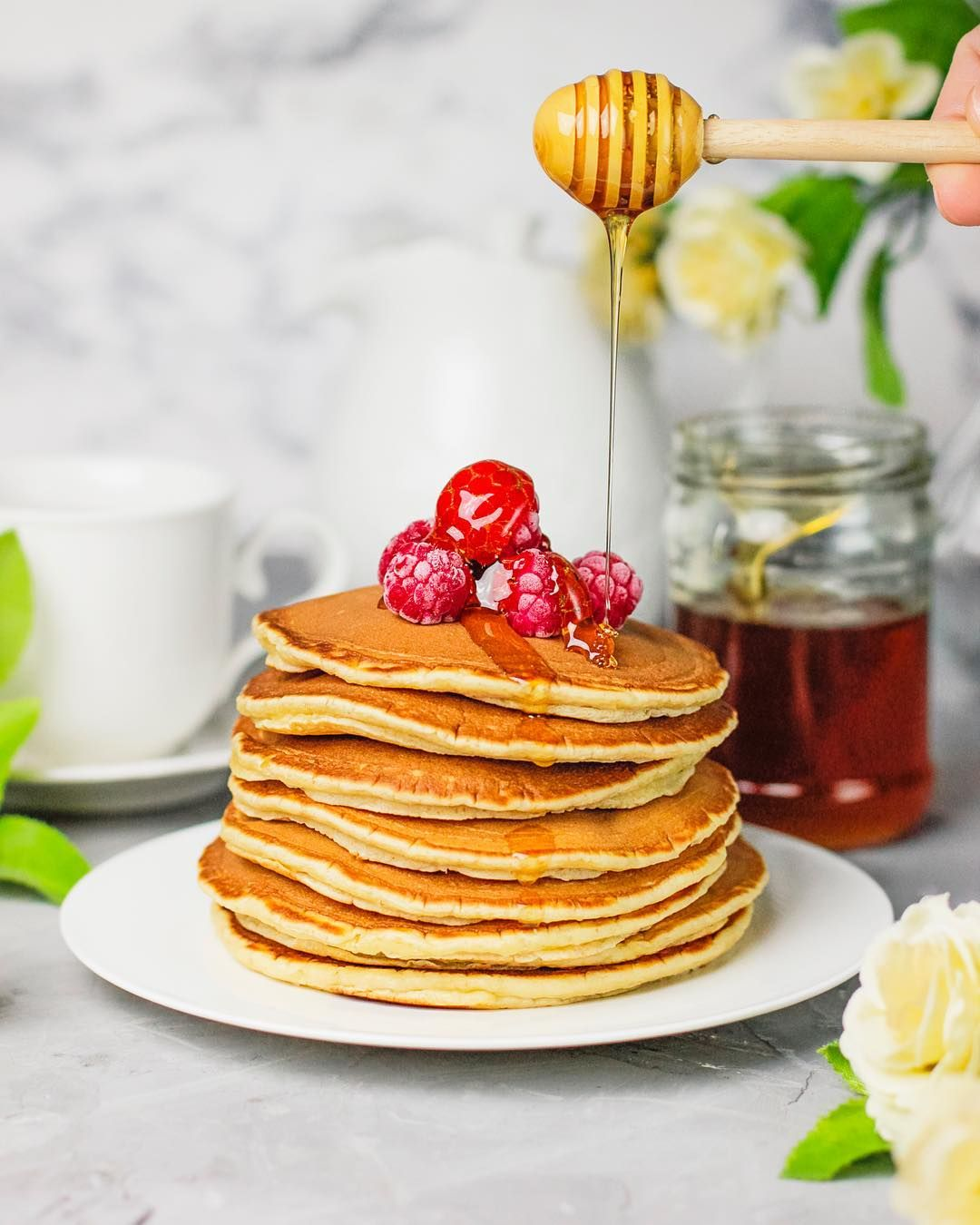Stack Of Pancakes With Honey And Raspberries Foodstyling Food Photo Food Food Photo Pancake Stack