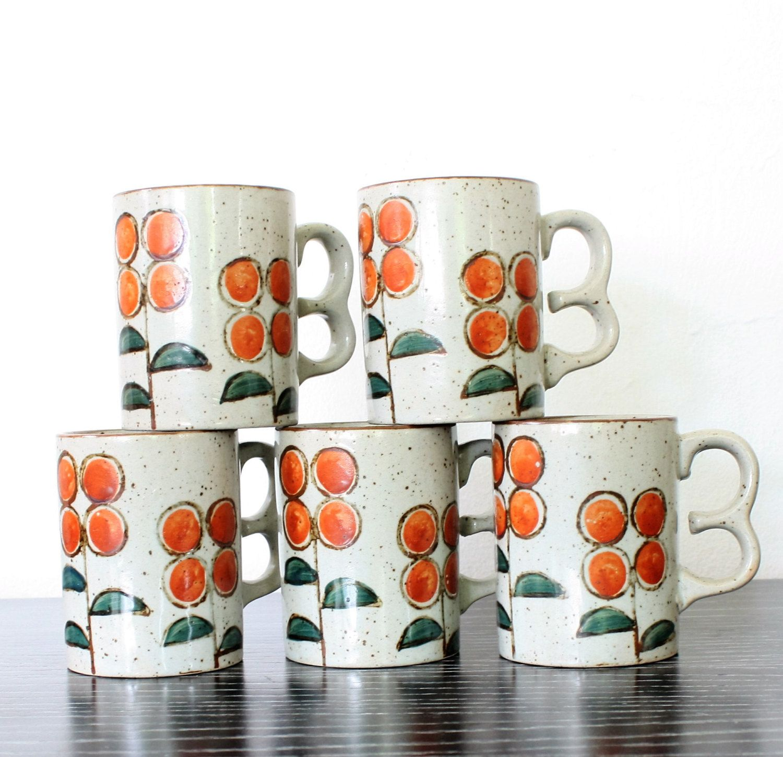 Vintage Mid Century Golden Poppy Flower Coffee Mugs Set Poppy Tea