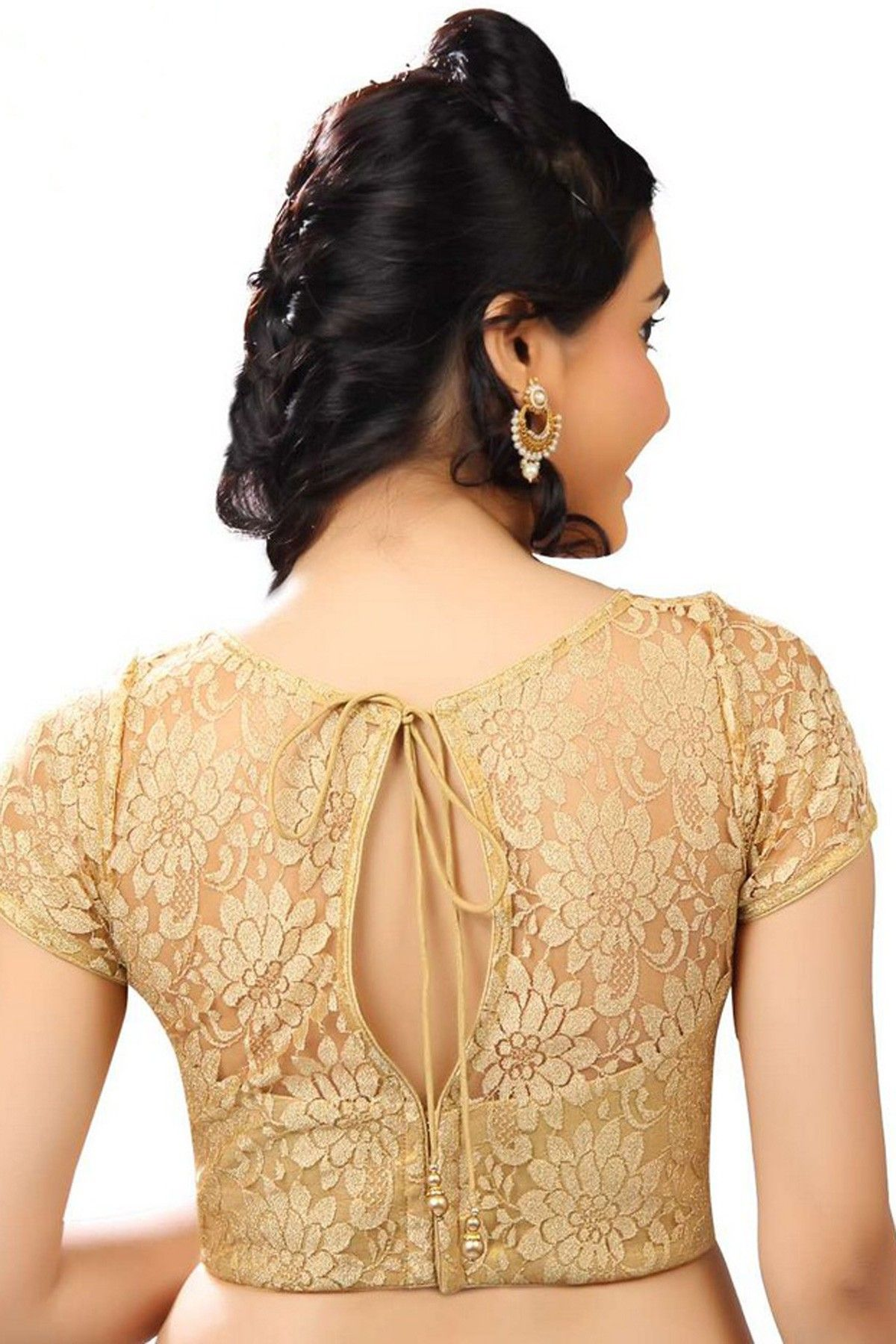 Beige golden brocade blouse blouse designs blouse designs for sarees -  Gold Lace Fabric Designer Blouse With Lovely Jewel Neck With Cap Sleeves