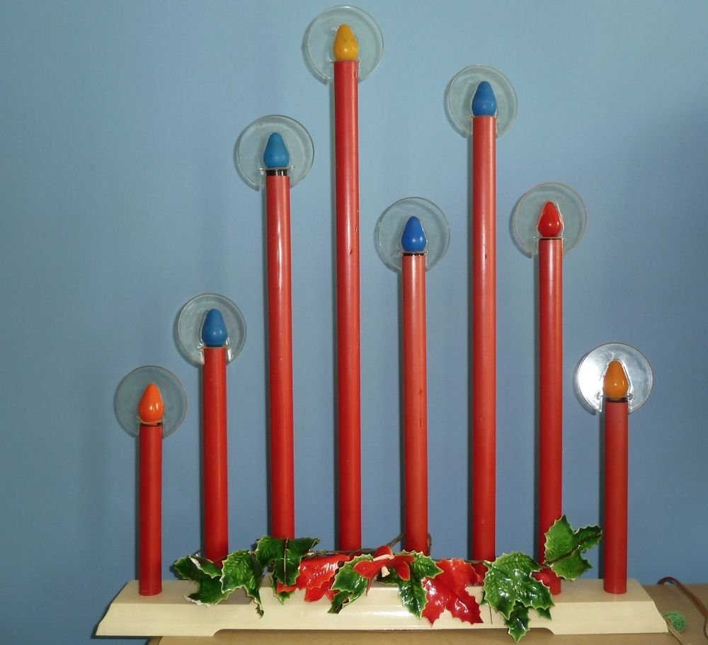 vintage electric christmas candles halo 8 light 1957 tall candolier original box