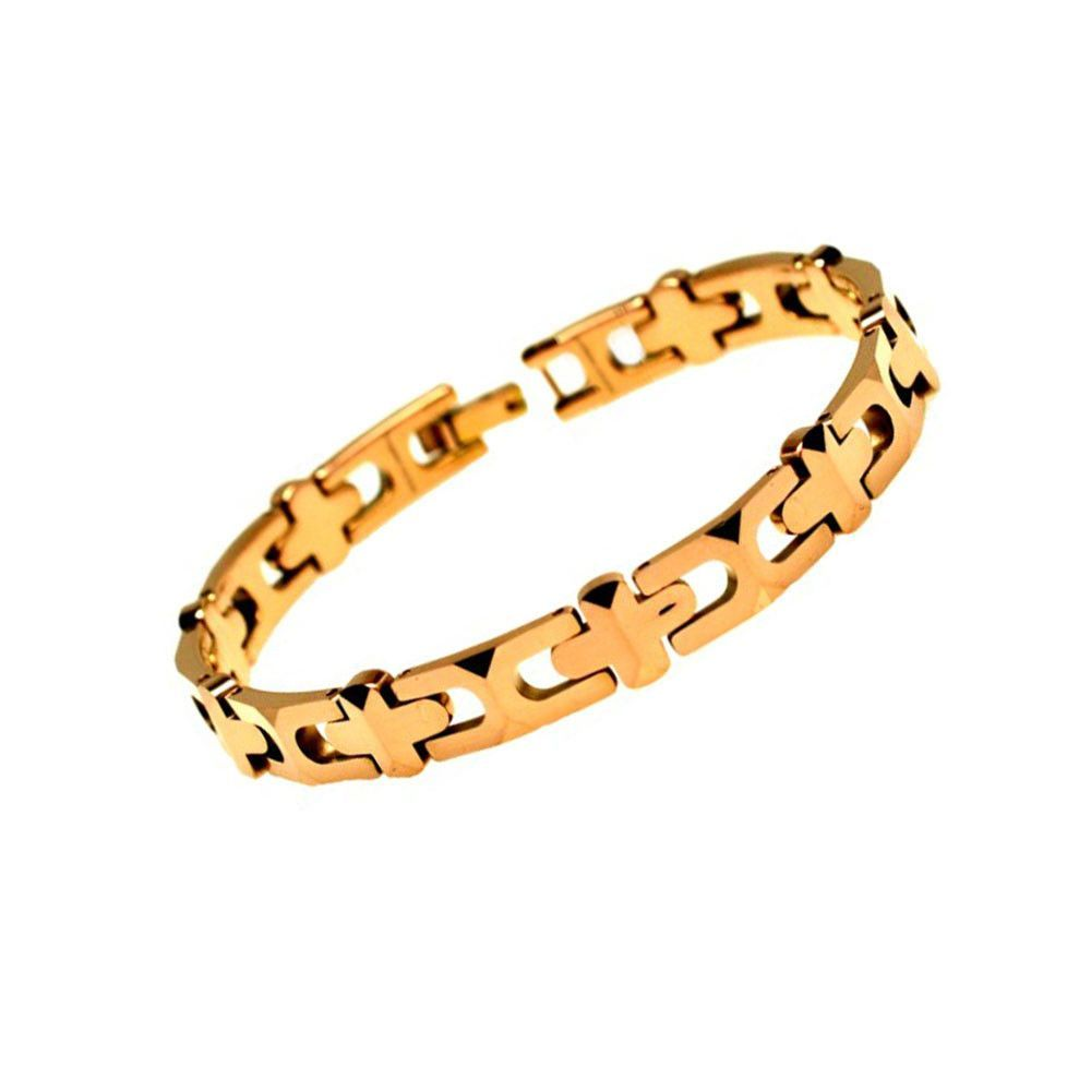 Rosegold plated tungsten carbide high polish hlink tb bracelet