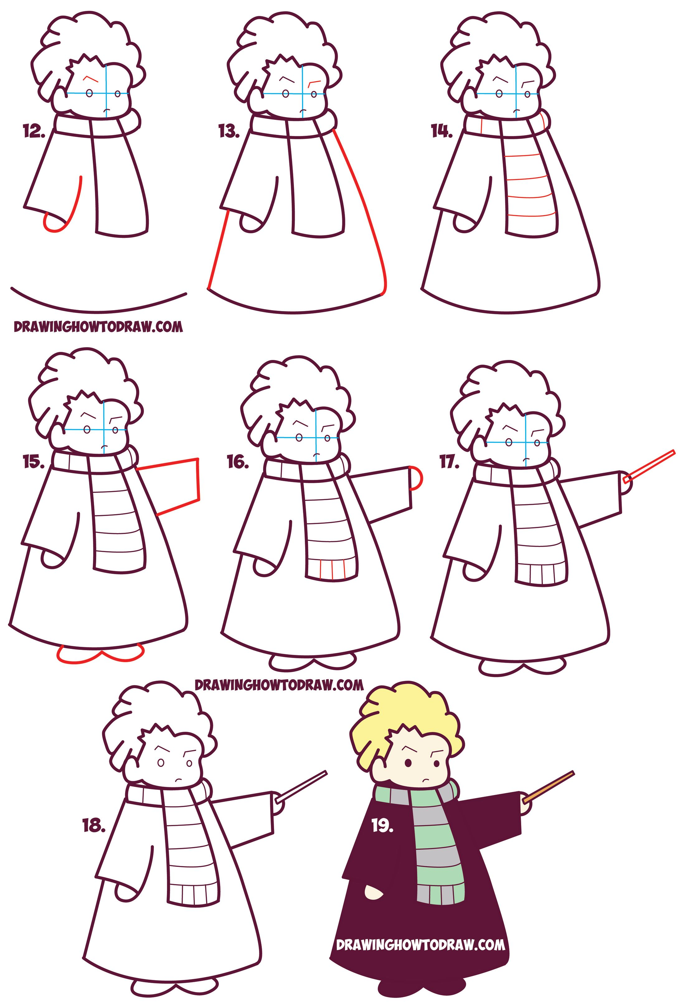 How To Draw Cute Draco Malfoy From Harry Potter Chibi Kawaii Easy Step By Step Drawing